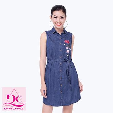 Đầm Jean Thêu Hoa 2290-TH Đan Châu