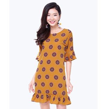 Đầm Suông Đuôi Cá Tay Loe