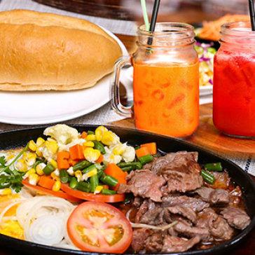Bò Mỹ Giá Việt – Combo Bò Né Corner + Nước Ép Cho 02 Người Tại Steak Corner Restaurant
