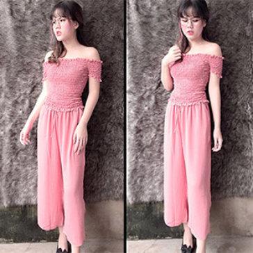 Set Quần Culottes + Áo Bẹt Vai Nhún