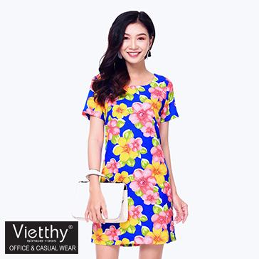 Đầm Suông Họa Tiết Hoa - TH Việt Thy