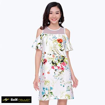 Đầm Suông Hoa Bẹt Vai 07702 - TH Sơn Nguyễn