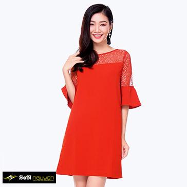 Đầm Suông Phối Ren Cao Cấp 06102 – TH Sơn Nguyễn