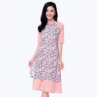 Set Áo Dài In Hoa + Chân Váy Xòe Duyên Dáng