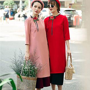 Set Áo Dài Đón Xuân + Chân Váy Xòe (Kèm Mấn)