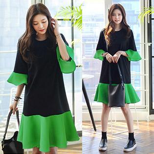 Đầm Oversize Phối Màu