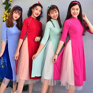 Set Áo Dài Cách Tân + Váy Ren Xòe (Kèm Băng Đô)