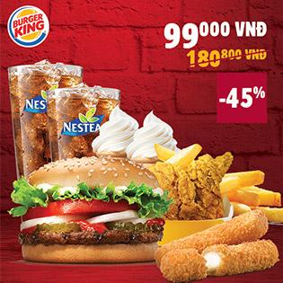 Hệ Thống Burger King Khuyến Mãi Sốc Combo 2 Người Tự Chọn Cực Ngon – Duy nhất Tại Hotdeal