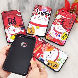 Ốp Lưng IPhone Kính Cường Lực Chó Phú Quý Và Mèo Thần Tài