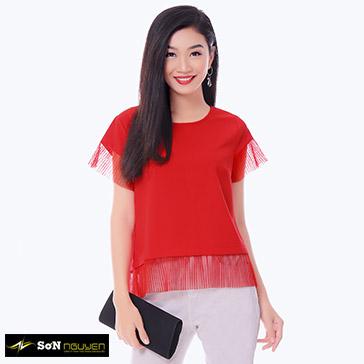 Áo Kiểu Phối Lưới Cao Cấp – 44703 – TH Sơn Nguyễn