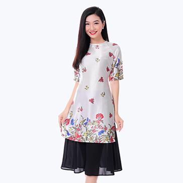 Set Áo Dài Cách Tân Hoa Nhí + Chân Váy Điệu Đà