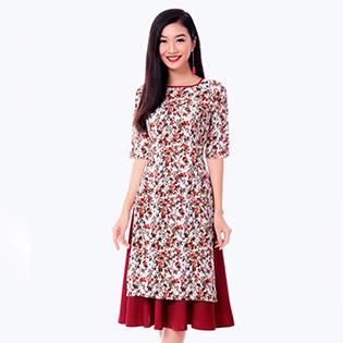 Set Áo Dài Hoa Nhí + Chân Váy Dày