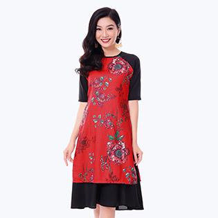 Set Áo Dài Cách Tân Hoa Hồng + Chân Váy Xòe