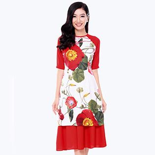 Set Áo Dài Cách Tân Hoa + Chân Váy Xòe
