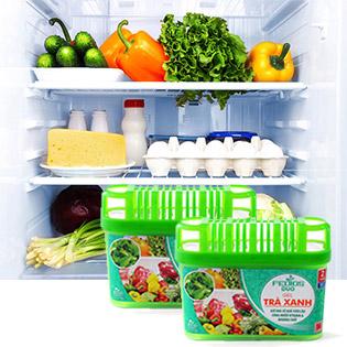 Combo 2 Hộp Gel Trà Xanh Treo Tủ Lạnh Fedios Duo Làm Tươi Lâu Hoa Quả