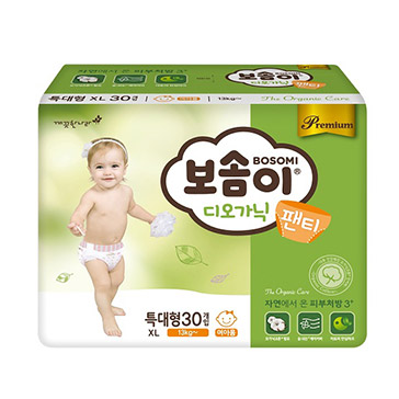 Tã Quần Cao Cấp Hàn Quốc Bosomi Organic (Size XL - Dành Cho Bé Gái Trên 13 Kg) 30 Miếng - NK Hàn Quốc