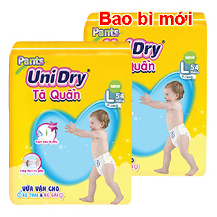 Combo 2 Gói Tã Quần Unidry Size L54 (Cho Bé 9-14kg)