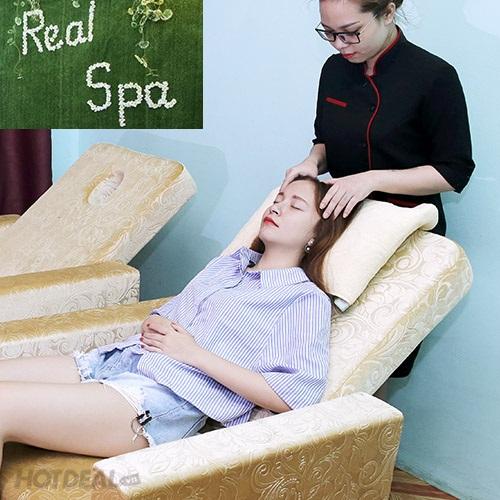Trọn Gói Chăm Sóc Từ A – Z: Massage Body + Chăm Sóc Da Mặt/ Ngâm Chân/ Xông Hơi/ Tẩy Tế Bào Chết Toàn Thân Tại Real Spa