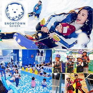 Khu Tuyết Snow Town Sài Gòn – Vé Trọn Gói Vui Chơi Trượt Tuyết + Tham Gia Tất Cả Trò Chơi +  Selfie Xinh Lung Linh