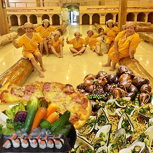 """Buffet Tối 60 Món Pháp – Hàn - Nhật - Việt + Thư Giản Xả Stress """"Jjim Jij Bang"""" + Xu Game Và Massage Cá Tại Golden Lotus Healing Spa World"""
