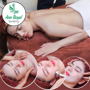Trị Mụn + Massage Cổ Vai Gáy/ Trị Liệu Căng Bóng + Trắng Da Đa Tác Dụng/ Trẻ Hóa Da Kết Hợp Với Tinh Chất Tăng Sinh Collagen Vàng 24K - Cam Kết Hiệu Quả tại Ann Royal Spa