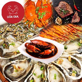 Buffet Tối 60 Món Cua Biển, Hải Sản, Lẩu, Nướng Không Giới Hạn, Miễn Phí Nước Uống - Nhà Hàng Siêu Cua