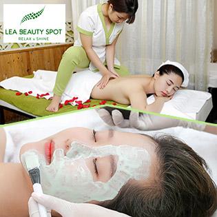 Trọn Gói Massage Body + Ngâm Chân Thảo Dược + Massage Đầu Cổ Vai Gáy + Chăm Sóc Da Mặt + Điện Di Lạnh/ Điều Trị Mụn Chuyên Sâu Tại Lea Beauty Spot