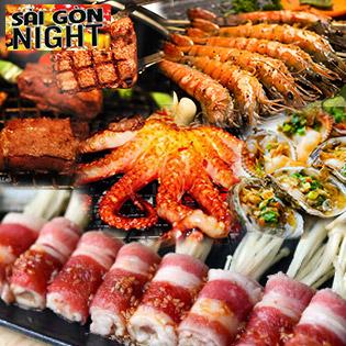 Buffet Tối 40 Món Hải Sản, Thịt Bò Nướng Không Giới Hạn – View Cực Đẹp Tại Buffet Sân Thượng Sài Gòn Night
