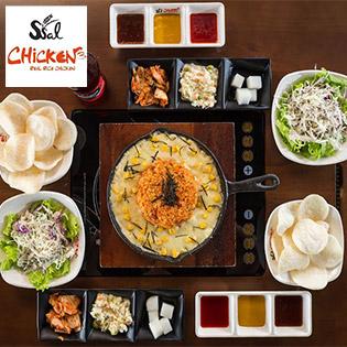Hệ Thống Ssal Chicken – Combo Cơm Kim Chi Phô Mai Trên Dĩa Nóng Cho 2 Người - Miễn Phí 8 Loại Panchan Không Giới Hạn