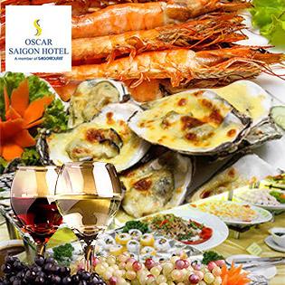 Buffet Tối T6, 7 & CN Hải Sản, Nướng Lẩu - Free Rượu Vang Tại Oscar Saigon Hotel 4* - Phố Đi Bộ Nguyễn Huệ Đẹp Nhất VN