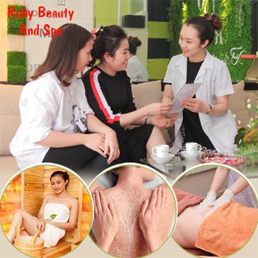 Xông Hơi + Tẩy Da Chết Toàn Thân + Body Thư Giãn Toàn Thân tại Ruby Beauty & Spa