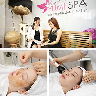 Yumi Spa - Combo Chăm Sóc Da + Làm Trắng Cấp Tốc Với Mặt Nạ Màng Tế Bào Gốc/ Chăm Sóc Da Kết Hợp Điện Di C + Oxy Jet/ Điều Trị Mụn