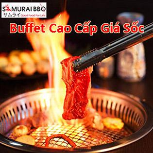 Buffet Trưa Gần 70 Món BBQ, Hải Sản, Sushi & Lẩu Bò Mỹ Tại Samurai BBQ - Tặng Buffet Kem