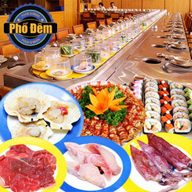 Buffet Trưa Lẩu Băng Chuyền Bò Mỹ, Hải Sản & Sushi Nhật - Nhà Hàng Phố Đêm
