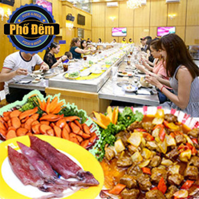 Buffet Tối Lẩu Băng Chuyền Bò Mỹ & Hải Sản Tại Nhà Hàng Lẩu Băng Chuyển Phố Đêm