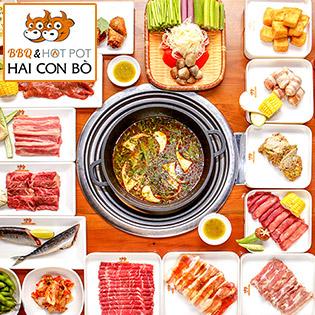 Hệ Thống 03 CN Hai Con Bò - Buffet BBQ Bò Mỹ, Hải Sản & Lẩu Thượng Hạng, Free Kem Fanny & Nước