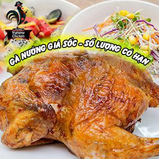 Áp Dụng Lễ - Gà Nướng Bồ Đào Nha Nguyên Con 1.2Kg + Salad Cho 04 Người - Yummy Chicken