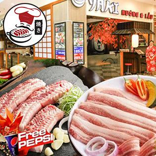 Mr.Yaki Times City - Buffet Nướng Tảng Chỉ 109K Ăn Tẹt Ga - Free Pepsi