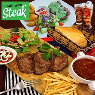 Combo Steak Pháp Giá Việt + Khoai Tây Chiên, Salad, Nước Ngọt Cho 02 Người Tại Thế Giới Steak