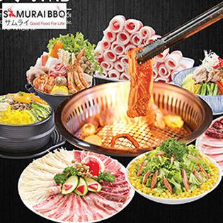 Áp Dụng Cả Menu Premium - Buffet Tối Gần 70 Món BBQ Bò Mỹ, Hải Sản, Sushi & Lẩu Nhật Tại Samurai BBQ - Tặng Buffet Kem