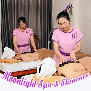 Miễn Tip - (110') Massage Body + Foot + Ngâm Chân + Đắp Mặt Nạ + Quấn Nóng Tan Mỡ Bụng/ Tắm Trắng Nách/ Chạy Vitamin C - Moonlight Spa & Skincare