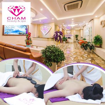 Xông Hơi Kết Hợp Massage Body Đá Muối Himalaya Tặng Kèm Nước Chanh Muối Thư Giãn Ngày Hè Tại Cham Beauty Spa