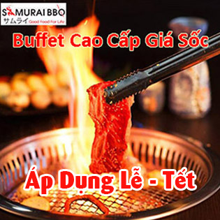 Áp Dụng Cả Menu Premium - Buffet Trưa Gần 70 Món BBQ Bò Mỹ, Hải Sản, Sushi & Lẩu Nhật Tại Samurai BBQ - Tặng Buffet Kem