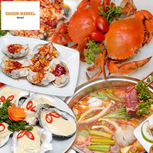 Buffet 90 Món Hải Sản, Bò Úc Nướng & Lẩu Ngay Phố Tây - Saigon Marvel Hostel