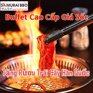 Buffet Trưa Gần 70 Món BBQ Bò Mỹ, Hải Sản, Sushi & Lẩu Nhật Tại Samurai BBQ - Tặng Buffet Kem