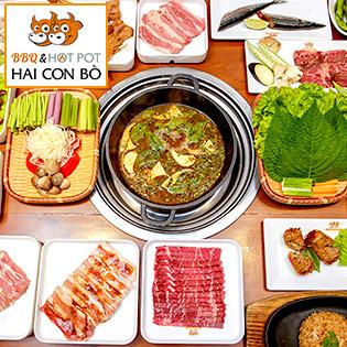 Hệ Thống 03 CN Hai Con Bò - Buffet Trưa/ Tối BBQ Bò Mỹ, Hải Sản & Lẩu Thượng Hạng, Miễn Phí Kem Fanny & Nước Ngọt