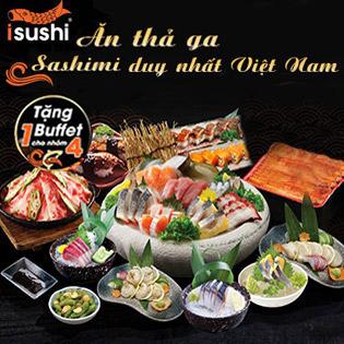 Deal Bom Tấn - Hệ Thống iSushi - Buffet 100 Món Ăn Thả Ga Sashimi, Lẩu, Nướng, Sushi - Đã Bao Gồm VAT