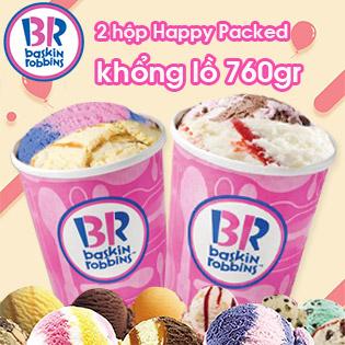 Baskin Robbins - Hệ Thống Kem Lớn Nhất Thế Giới - 2 Hộp Kem Happy Packed 760Gr