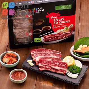 ORI FOOD - Set King BBQ Sườn Bò Mỹ Có Xương + King BBQ Ba Chỉ Bò Mỹ 300gr + Kim Chi Cải Thảo Ngò 85gr
