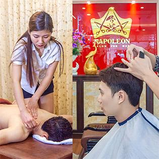 120 Phút Cắt-Gội-Vuốt Gel Tạo Kiểu - Gội Dưỡng Sinh - Massage Body Chuyên Nam Tại Napoleon Hair Spa (Tặng Đánh Giày Và Đồ Uống)